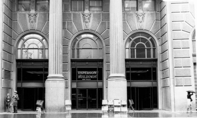 Esperson Buildings Entrance 1970's black and white photo by Suzanne Saunders